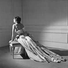 """Christian Dior's ball gown named """"Henri Sauget"""" worn here by Maxime de la Falaise, photo by Willy Maywald, 1950"""
