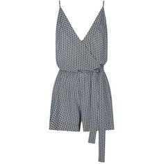 Seafolly Geometric Print Playsuit (6.525 RUB) ❤ liked on Polyvore featuring jumpsuits, rompers, playsuit romper, blue waist belt, waist belt, blue rompers and blue romper