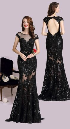 Carlyna Black Illusion Neckline Sequin Lace Appliques Formal Gown