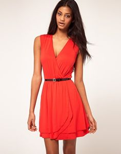 ASOS Skater Dress with Ballet Wrap and Belt $28.14