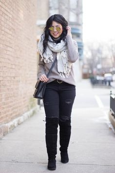RD's Obsessions: Cozy Knits, tunic sweater, black distressed jeans, over the knee boots, suede boots, oversized scarf, winter fashion, winter style, winter layers