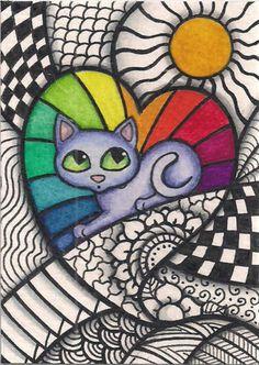 ACEO-Heart-Rainbow-Zentangle-Cat-Original-Art