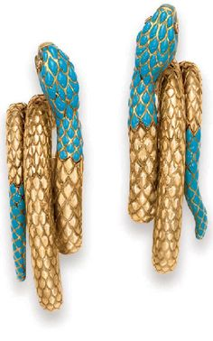 PAIR OF TURQUOISE, DIAMOND AND GOLD EAR PENDANTS, BY CARTIER   Each elongated hoop designed as an 18k gold curled snake, the head and tail set with turquoise scales, with oval-cut ruby eyes, with French assay marks and maker's mark  Signed Cartier, Paris.