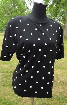 Unique Riveted Black and White Polka Dot Shirt by by NostalgicRose, $30.00
