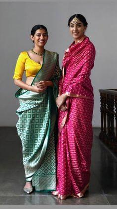 Banarasi Saree - Over / Sarees / Ethnic Wear: Clothing & Accessories Chanderi Silk Saree, Pure Silk Sarees, Sari Silk, Indian Beauty Saree, Indian Sarees, Bengali Saree, Indian Attire, Indian Wear, Ethnic Fashion