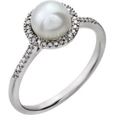 652049 / Sterling Silver / Pearl / White Freshwater Pearl and .01CTW Diamond Ring