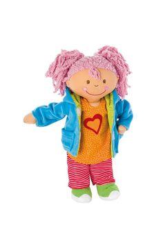 Curly Girly 35cm, een vrolijke zachte pop met kleertjes die je kunt verwisselen. Bestel deze pop snel op www.sigikidshop.nl!