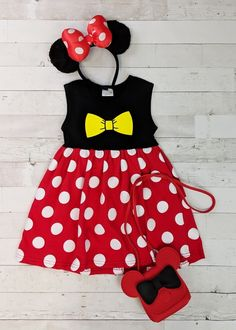 Minnie Mouse dress with yellow printed bow design and polka dot skirt. Any accessories shown are not included. Toddler Boutique Clothing, Wholesale Children's Boutique Clothing, Girls Boutique, Cute Girl Outfits, Trendy Outfits, Cut Out Leggings, Denim Overall Dress, Ruffle Sleeve Dress, Toddler Dress