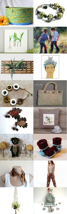 Earthy Finds by Julia on Etsy-- Lovely Etsy Treasury by Fibernique with unique handmade gifts  Trendy green moses basket  Pinned+with+TreasuryPin.com