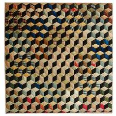 Antique tumbling block quilt (19th century)