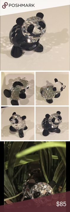 "Adorable Swarovski Austrian Crystal Panda Bear Adorable Swarovski crystal figurine "" Standing Crystal Panda Bear"".  This bear has black eyes, nose, ears and feet. It is almost 2"" tall and 2"" wide. ART 7611. Made in Austria.  Perfect condition!! Swarovski Other"