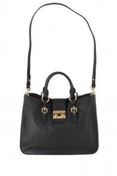 miu miu shopping madras black. Black color leather handbag or shoulder bag.  The bag 12eefde8cdeec