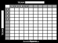Printable  Line Super Bowl Squares   Box Pool  Super Bowl