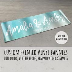 #custombanner #customvinylbanner Our high-quality square vinyl banners start at two feet by four feet and are a perfect medium to advertise an event, celebrate a birthday, or to promote your business. This listing is for a single custom printed vinyl banner. Choose one of our standard sizes or PM us for a custom quote. Pick your Latex Allergy, Custom Vinyl Banners, Shower Banners, Banner Printing, Order Up, Promote Your Business, Banner Design, Baby Shower, Quote