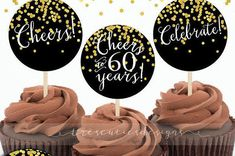 60th Birthday Cupcake Toppers  Gold Confetti  by TresCutiesDesigns