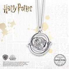 This stunning sterling necklace is the perfect stylish gift for Potterheads, with its rotating centrepiece, embellished with Swarovski® crystals, this necklace will soon become your favourite accessory. Rowling Harry Potter, Harry Potter Characters, Sterling Necklaces, Diamond Necklaces, Harry Potter Necklace, Time Turner, Necklace Online, Beautiful Necklaces, Swarovski Crystals