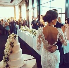 Her wedding dress! Low back lace