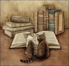 Cats and books. Book Cats and books. Books and cats. Cats and books. Book Cats and books. Books and cats. I Love Cats, Crazy Cats, Good Books, Books To Read, Reading Books, Buy Books, Reading Art, Reading Stories, Library Books