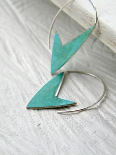 Geometric Verdigris Earrings - handmade brass and sterling silver dangle earrings with verdigris patina, Etsy  -  $32