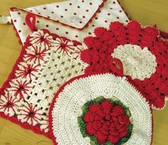 Vintage red and white potholders--2