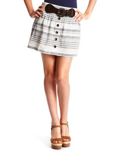 Button-Front Stripe Skirt
