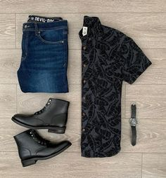 """Your casual clothes are the ones you wear on your own time. It's hard to put boundaries on what pieces of clothing count as """"casual"""" and wh. Modern Mens Fashion, Formal Men Outfit, Designer Suits For Men, Gents Fashion, Outfit Grid, Mens Clothing Styles, Clothing Accessories, Dress Codes, Trendy Outfits"""
