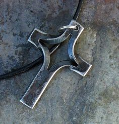 Hand Forged Cross Necklace by dcmetaldesigns on Etsy, $22.50:
