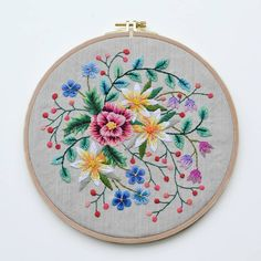 Just finished this lovely hoop 💜 . . . . . . . #embroideredflowers #embroiderydesign #embroidery #embroideryart #embroidered…