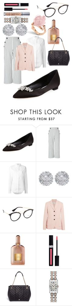 """CHIC FLATS: MANOLO BLAHNIK"" by lovelywish007 ❤ liked on Polyvore featuring Manolo Blahnik, Miss Selfridge, Anthony Vaccarello, Allurez, Prada, MaxMara, Tom Ford, Christian Dior, Lanvin and Longines"
