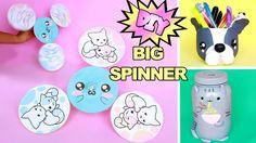 DIY KAWAII de Material RECICLADO  SPINNER GIGANTE caseiro ft Compartilh... #diy #biscuit #spinner #cofrinho #bulldog #kawaii #polymer #clay