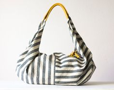 Kallia in Striped canvas and Yellow leather details by milloo, $75.00