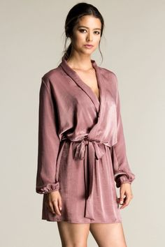 Fjord Satin Surplice Dress #10-20 #dress #long-sleeve-dresses #mini #new #new-stuff #party #satin-dresses #satin-party-dresses