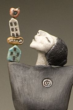 "Tower of Power  Raku fired sculpture hand-built 26"" tall - (close up) by Tanya Tyree"