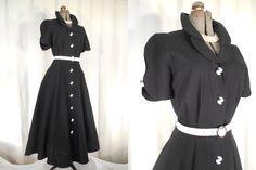 1980s Dress// 1950s Dress// Black Midi Dress// 80s 50s// Open Back Dress// Linen Dress// Shirtwaist Dress// Full A Line Skirt// Swing Dress by RockabillyRavenVtg on Etsy