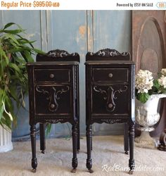 ON SALE Black PAINTED Nightstands We Find Antique Nightstands And Refinish For You Custom. The Shabby Chic Furniture by RedBarnEstates on Etsy https://www.etsy.com/listing/179894361/on-sale-black-painted-nightstands-we