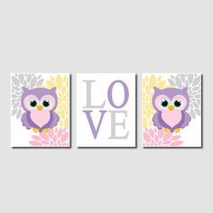 Floral Owl Nursery Artwork Lavender Pink Gray Aqua Yellow Love Set of 3 Prints Baby Girl Modern Nursery Art Decor Wall Art Picture Bedding on Etsy, $25.00