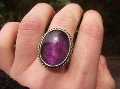 Amethyst Ring Sterling Silver Design Handmade Semi Precious