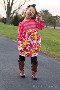 Belinda Dress knit sewing pattern for girls sizes 12 months through 14 years. So comfy!