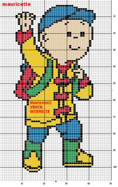 """Caillou perler bead pattern by Mauricette...cute as a """"Bookmark"""" too!"""