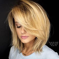 Medium-length layered bob by Nadine Matar