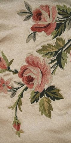 Exquisite Antique French Pt de Beauvais Needlework Valance with Roses