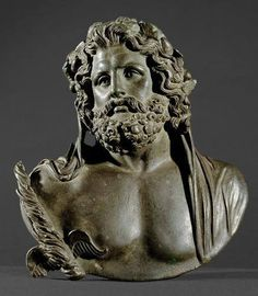 Bust of Jupiter Roman, Empire First - 2nd Century AD, after Greek model of the 2nd Half of the 4th Century. BC Bronze, hollow casting