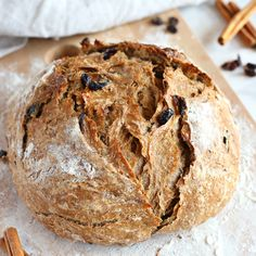 This Easy No Knead Cinnamon Raisin Artisan Bread is crusty on the outside, tender and fluffy on the inside and packed with sweet cinnamon and juicy raisins.