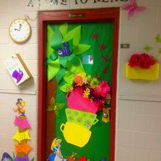 Alice in Wonderland classroom door for reading theme.