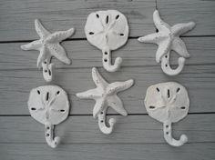 sand dollar hooks, starfish hooks, 6 cast iron hangers, nautical decor, home organization in colors you choose