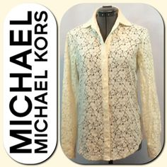 MICHAEL Michael Kors Eyelet Floral Lace Blouse MICHAEL Michael Kors Cream colored eyelet floral lace blouse. Long sleeves and button down the front closure. Size XS. Excellent condition. MICHAEL Michael Kors Tops Blouses