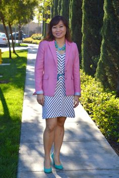 Happiness at Mid-Life. The dress/jacket combination works well here. But my choice would be a a navy (if it is a navy chevron) red or the-right-color-of yellow jacket. Pastels are not for me.