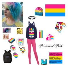 """""""Pansexual Pride"""" by dreadful-glassheart ❤ liked on Polyvore featuring Chanel, Dr. Martens and JanSport"""