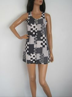 Vintage 1960s Monochrome Mary Quant Inspired Mod Micro Mini Dress available to buy online at Virtual Vintage Clothing £25