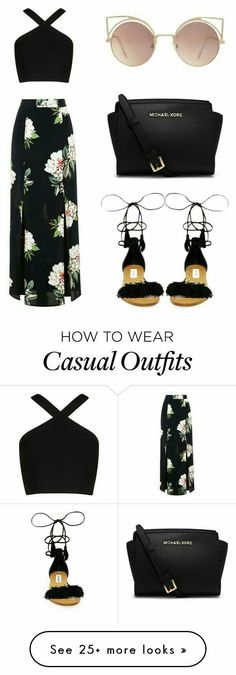 Casual black look with maxi floral black skirt, criss cross halter crop top and black sandals Topshop, BCBGMAXAZRIA, Steve Madden, MICHAEL Michael Kors and MANGO Look Fashion, Teen Fashion, Fashion Outfits, Womens Fashion, Fashion Shoes, Fashion Black, Dress Fashion, Fashion Clothes, Fashion Ideas